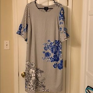 Bell Sleeve Plus Size 20 Dress Floral & Check